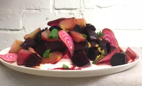 Beetroot salad, whipped feta & passion fruit
